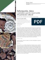 Información, datos y metadatos para la conservación del patrimonio cultural