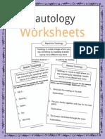 Sample Tautology Worksheets