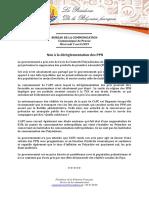 Communiqué - Pas de Déréglementation Des PPN