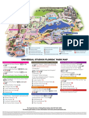 Universal Studios Florida Park Map English | Leisure