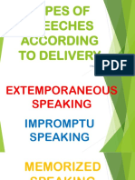 ENGLISH 1=Methods of Speech Delivery