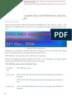 NEWS UGC NET December Answer Key 2018 Released on 24th Dec 2018