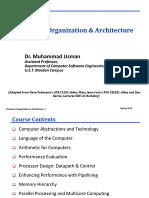 Computer Organization Architecture Dr Muhammad Usman Input Output Random Access Memory