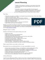 Journey Management Planning