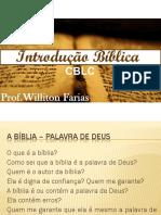 Aula 1 - Introdução Bíblica - Apresentação Do Conteúdo