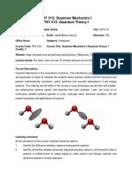 PHY 212-QuantumMechanics-I PHY 513 Quantum Theory-I-Muhammad Sabieh Anwar