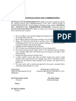 4. Agreement for Installation and Commissioning