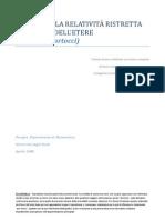 Teoria della Relatività Ristretta ed Ipotesi dell'Etere - Umberto Bartocci