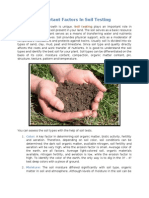 Important Factors in Soil Testing
