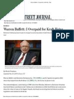 Warren Buffett_ I Overpaid for Kraft Heinz - WSJ