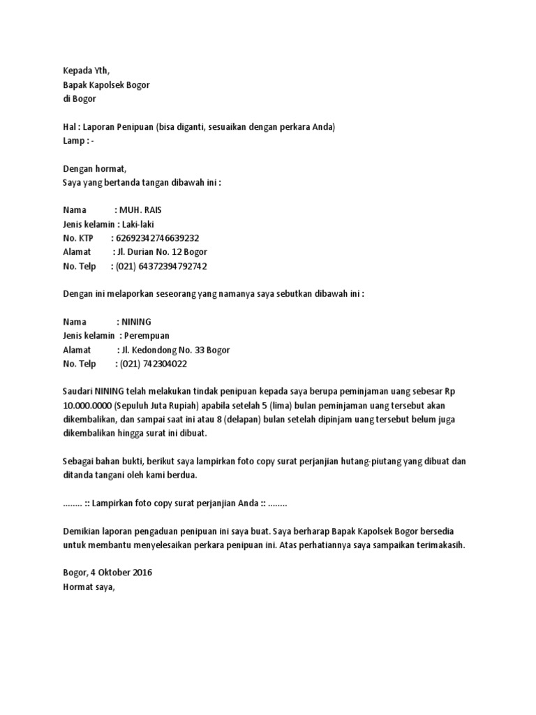 Contoh Surat Laporan Pengaduan Ke Polisi Docx