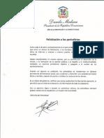 Mensaje del presidente Danilo Medina con motivo del Día del Periodista 2019