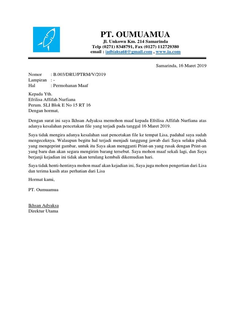 Contoh Surat Permohonan Maafdocx