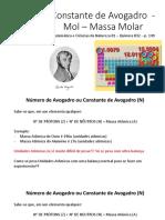 Constante de Avogadro - Mol – Massa Molar