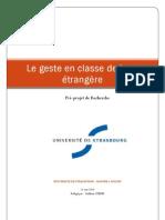 Le Geste en Classe de Langue Etrangère et Seconde
