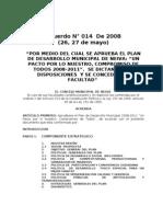 Plan de Desarrollo Acuerdo 014 de 2008