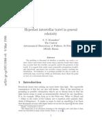Hyperfast Interstellar Travel in General Relativity