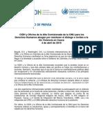 CIDH y Oficina de la Alta Comisionada de la ONU para los Derechos Humanos abogan por mantener el diálogo e invitan a la No Violencia en Cauca