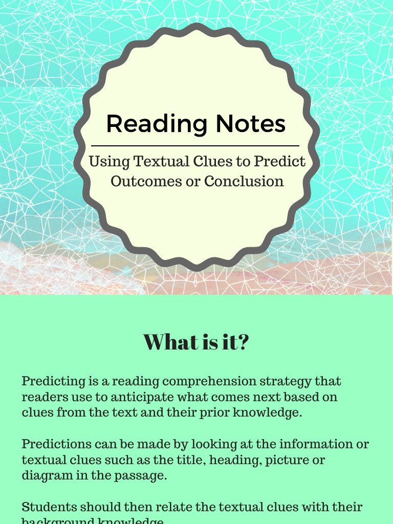 Reading Notes Students make predictions all the time though they may not realize it. scribd