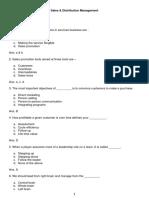 Marketing - Sales & Distribution Management MCQ