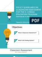 Policy Guidelines on Classroom Assessment for the K-12 Basic Education Program