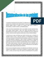Deanaturalizacion de Las Proteinas