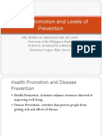 Health Promotion and Levels of Prevention