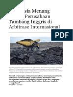 Indonesia Menang Lawan Perusahaan Tambang Inggris di Arbitrase Internasional.doc