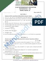 Inter II Year Maths- IIB Model Paper - IV