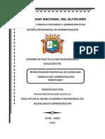 Informe de practicas Gerencia de administracion tributaria