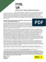 """Raportul """"FĂRĂ JUSTIȚIE, FĂRĂ VIITOR. 10 ani de la evenimentele din aprilie 2009"""""""