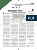 Principio de Continuidad Laboral - Autor José María Pacori Cari