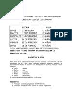 Cronograma de Matriculas 2019 Si 3