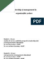 Leadership Și Management În Organizațiile Școlare