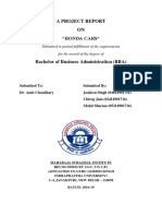 Honda Cars Project Report (Jaskirat Singh, Chirag Jain, Mohit Sharma).docx