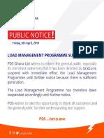 PDS Suspends Load Management Schedule