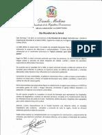 Mensaje del presidente Danilo Medina con motivo del Día Mundial de la Salud 2019