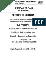 La Sociologia de La Educacion Desde La Pedagogia Critica - Reporte de Lectura 2 - Johanna Ivette Suarez Carvajal.