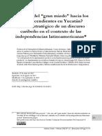 """¿Un caso del """"gran miedo"""" hacia los afrodescendientes en Yucatán? El uso estratégico de un discurso caribeño en el contexto de las independencias latinoamericanas"""