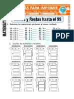 Ficha de Sumas y Restas Para Segundo de Primaria
