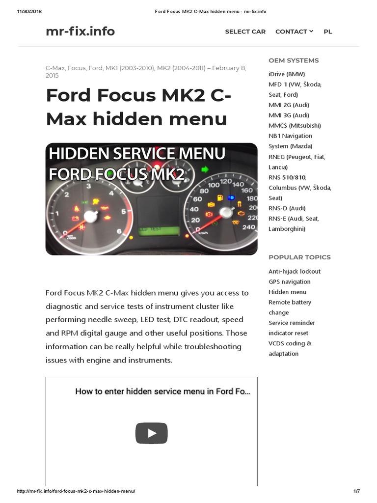 Ford Focus MK2 C-Max hidden menu - mr-fix info | Wheeled Vehicles