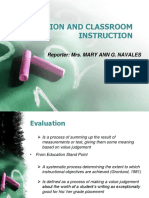 Evaluation and Classroom Instruction m Report