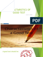 Charactaristic of Good Test