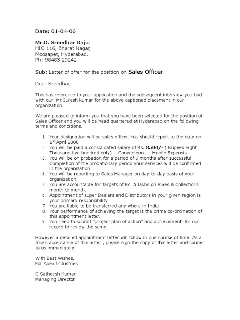 appointment letter format for sales executive appointment letter offer order sample format