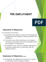 II. Pre Employment