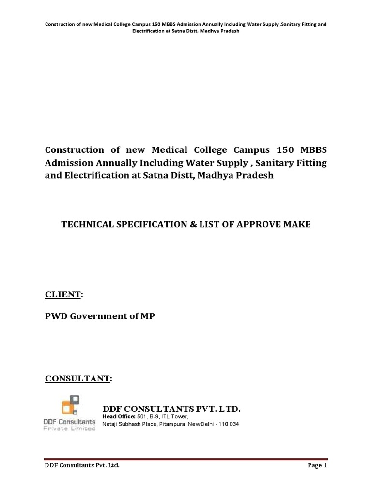 Construction of 150 bedded Hospital-TechnicalSpecs.pdf ... on