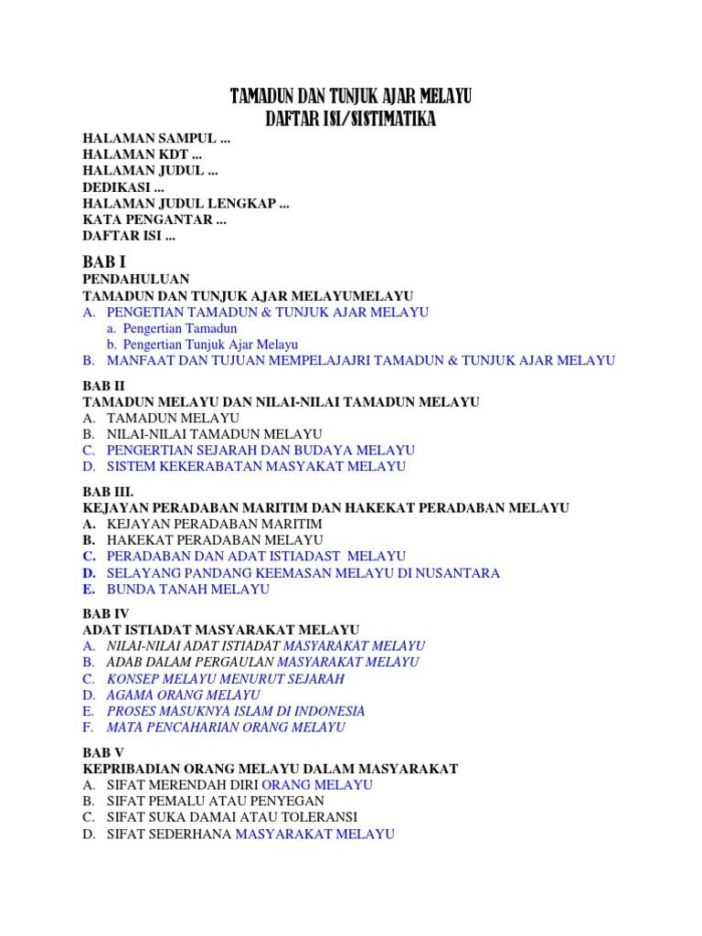 Materi Mku Tamadun Dan Tunjuk Ajar Melayu Docx