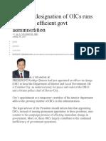 Duties of OIC