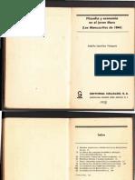 Adolfo Sánchez Vázquez. Filosofía y economía en el joven Marx (los Manuscritos de 1844).