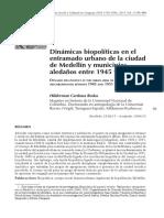 Dinámicas Biopolíticas en El Entramado Urbano de La Ciudad de Medellín y Los Municipios Aledaños Entre 1945 y 1951